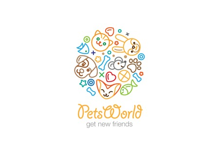 shop sign: Pet Shop Veterinary clinic Logo design vector template linear style.  Dog Cat Mouse Fish outline icons Logotype circle shape.