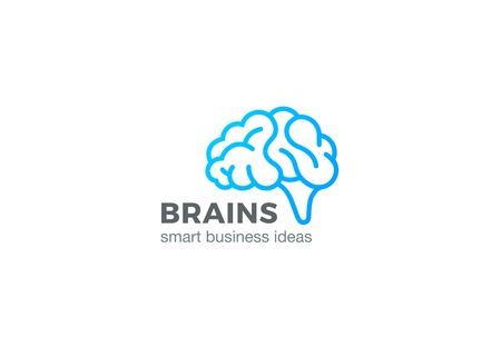 Brain Logo silhouette design vector template linear style. Brainstorm think idea Logotype concept outline icon.