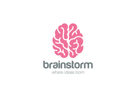 brainstorm: Brain Logo silhouette top view design vector template.   Brainstorm think idea Logotype concept icon.