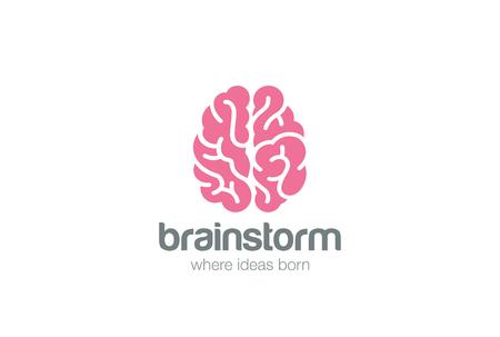 Mózg Logo widok z góry sylwetki wektora projektowania szablonu. Brainstorm zdaniem pomysł Logotyp koncepcji ikony. Logo