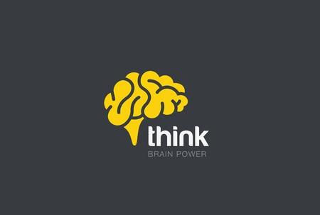 power of thinking: Brain Logo silhouette design vector template. Think idea concept.  Brainstorm power thinking Logotype icon. Illustration