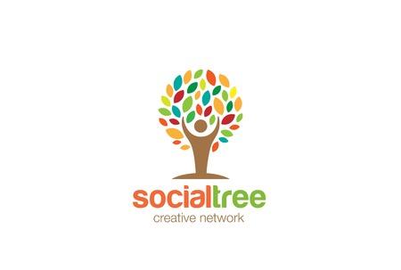 Man Tree Logo abstract design vector template. Social network Education Eco Logotype concept icon Vectores