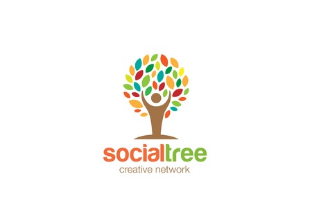 Man Tree Logo abstract design vector template.  Social network Education Eco Logotype concept icon