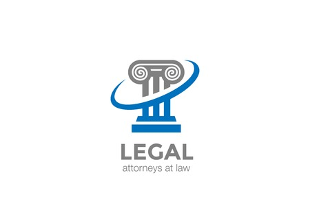 Pillar Lawyer Law firm Logo design column symbol vector design template Stock Illustratie