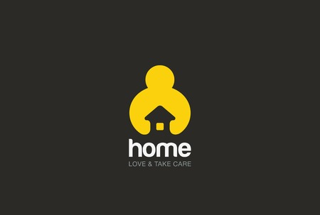logo design: Man holding hands House Logo design vector template negative space style.  Repair household service Logotype icon. Love home security concept. Illustration