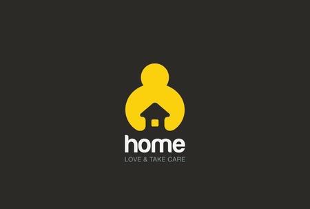 Man mains tenant Maison Logo design template vecteur style de l'espace négatif. Réparation service de ménage icône Logotype. Amour concept de sécurité à la maison.