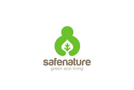 manos logo: El hombre de la mano de la hoja del logotipo diseño ecología plantilla vector de estilo espacio negativo verde. concepto del icono de Eco Orgánica Naturaleza de logo