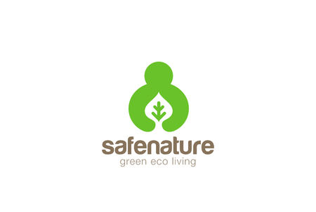 negative spaces: Man holding hands green leaf Logo ecology design vector template negative space style.  Eco Organic Nature Logotype concept icon