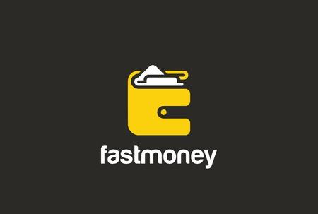 Portafoglio Logo vettore astratto design spazio negativo. pagamento borsa concetto di logo icona