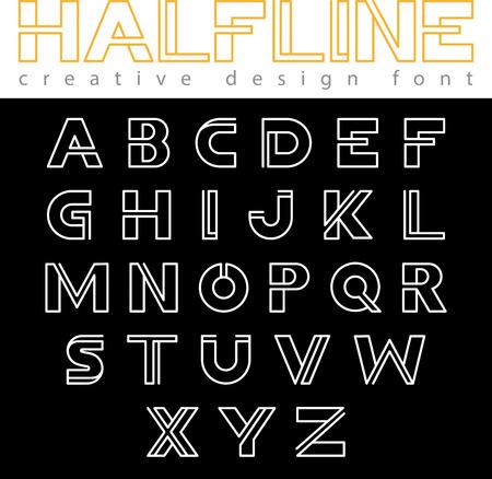 font design: Monogram  Font vector alphabet design linear style. ABC Letter  outline typeface