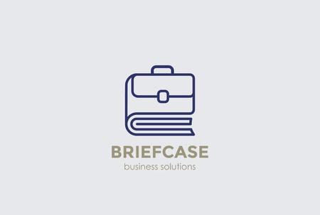 book case: Briefcase as Book  Portfolio abstract design vector template linear style. Business case Library  concept outline icon.