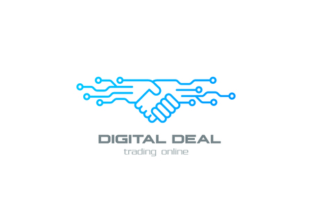 Digital Deal Online Contract Handshake  design vector template linear style. Shaking hands Partnership Friendship business  concept outline icon.