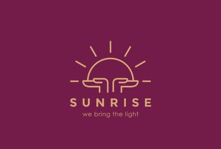 sun rising: Hands holding Sun rising  design vector template linear style. Sunrise Sunset Religion Church Pray  concept. Foundation concept icon.