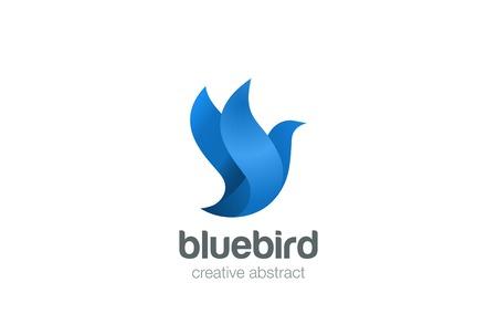 palomas volando: Diseño del pájaro volar el modelo abstracto del vector. Paloma de icono de concepto. Vectores