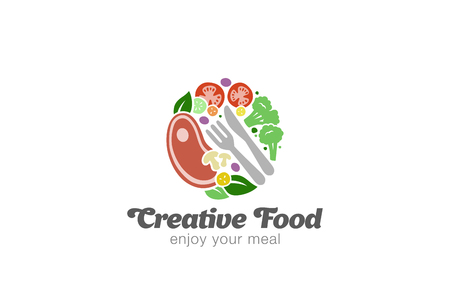 food plate: Traditional Meat and Vegetables on Plate  design vector template. Circle shape of Food  concept icon.