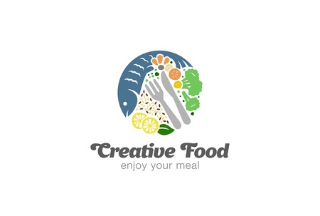 logo design: Fish and Vegetables on Plate Logo design vector template.   Circle shape Diet Food Logotype concept icon.