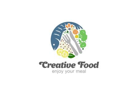 logo de comida: Pescado y verduras en la placa Plantilla de vector de diseño de logotipo. Icono del concepto del logotipo del alimento de la dieta de la forma del círculo.