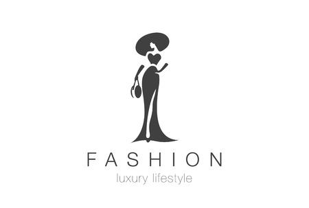 패션 럭셔리 매력적인 우아한 여자 실루엣 로고 디자인 벡터 템플릿입니다. 레이디 부정적인 공간 보석 액세서리 로고 개념 아이콘입니다.