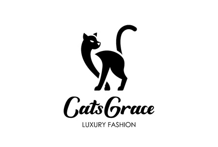 grace: Cat Silhouette Logo design vector template negative space style.  Home Pet Logotype Veterinary clinic icon. Grace Fashion concept.