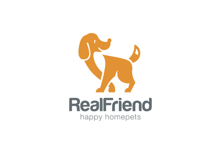 Friendly Dog Silhouette Logo design vector template negative space style.  Home Pet Logotype Veterinary clinic icon. Real Friend concept. Çizim