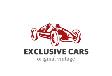 old car: Racing Retro Car Logo abstract design vector template.  Vintage exclusive vehicle silhouette Logotype concept icon.