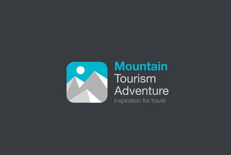 logotipo turismo: Montañas Aventura Turismo plantilla vector de diseño del logotipo. Viaje de logo icono de las aplicaciones de concepto. Vectores