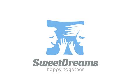 couple sleeping: Couple Sleeping on Pillow Logo design vector template.  Sweet dreams man & woman Logotype concept icon negative space. Illustration
