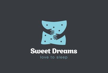 Embrace Pillow Logo handen van de holding ontwerp vector template. Love to Arms Logotype concept pictogram negatieve ruimte slapen.
