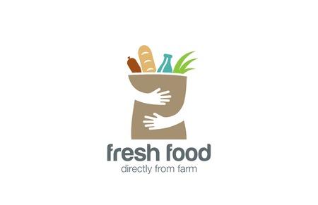 Alimentación Compras plantilla fresca del logotipo de diseño vectorial. Manos que sostienen la Bolsa de logo icono concepto de espacio negativo. Logos