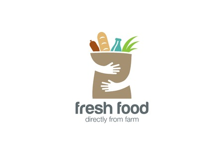 food store: Fresh Food Shopping Logo design vector template.  Hands Holding Bag Logotype concept negative space icon.