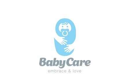 Umfassen Baby Care Logo-Design-Vektor-Vorlage. Gesundheitswesen für kleine Kinder Signet Konzept Symbol.