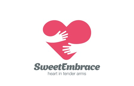 medical sign: Embrace Heart Shape Logo design vector template.  Valentine Day Love Concept: Embracing Logotype negative space icon.