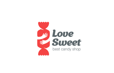 Candy Shop Logo ontwerp vector template. Sweet Love Concept: Omarm de negatieve ruimte pictogram Bon-bon Logotype. Stock Illustratie