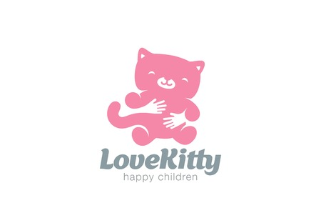 kitty cat: Funny Toy Cat Embrace Logo design vector template. Negative space icon.  Animal Kitty Home pet Logotype Children store concept.
