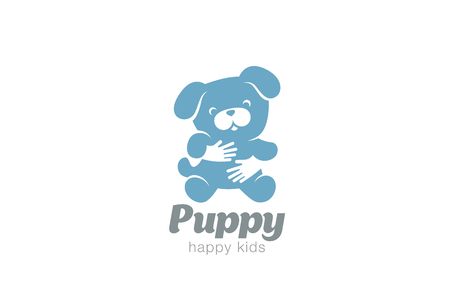 negative space: Funny Toy Dog Embrace Logo design vector template. Negative space doggy icon.  Animal Puppy Home pet Logotype Children store concept.