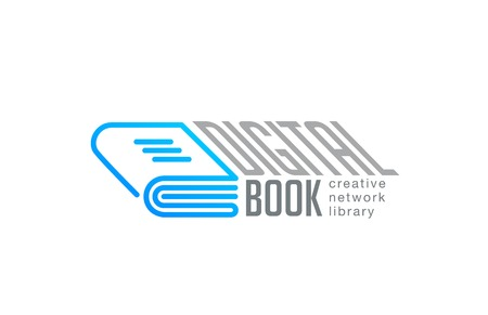 Digital Book Logo design vector template linear style.  Web Network Library Logotype technology concept outline icon Ilustracja