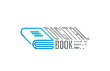 libros abiertos: Diseño de logo estilo lineal de la plantilla de vectores libro digital. Web Red de Bibliotecas de la tecnología de logo icono concepto de esquema