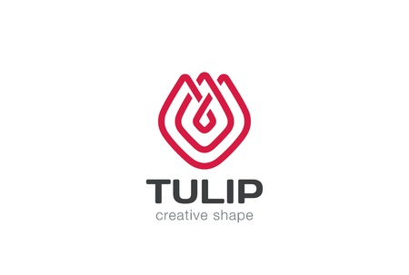 lineart: Tulip abstract flower Logo design vector template linear style.  Creative shape lineart outline Logotype concept icon.
