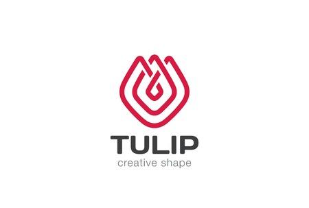Tulipe abstraite fleurs Logo vecteur de conception de style modèle linéaire. Creative forme lineart concept de contour Logotype icône.