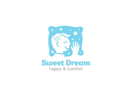 sweet dreams: Man Sleeping on Pillow Logo design vector template.  Sweet dreams boy Logotype concept icon negative space.