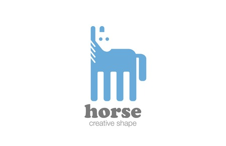 shape silhouette: Horse Logo Flat design vector template negative space style.   Geometric shape Mustang Logotype silhouette concept icon.