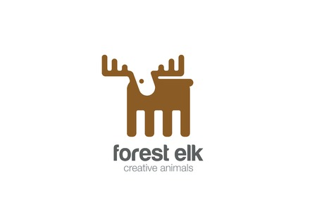 Elk Logo flat design vector template negative space style.   Geometric Deer Logotype silhouette concept icon.