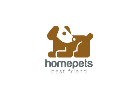 dog toy: Funny Toy Dog Logo design vector template. Geometric Flat Negative space doggy icon.  Sitting Puppy Home pet Logotype Children store concept.