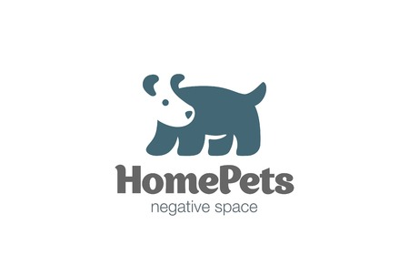 negative: Dog Logo design vector template negative space style.  Pet Logotype silhouette concept icon.