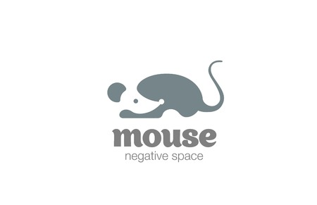 negative spaces: Mouse Logo design vector template negative space style.  Rat Logotype silhouette concept icon.