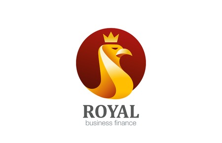 Gold Royal Eagle with Crown abstract Bird Logo design vector template in circle shape. Finance, Luxury, Business Logotype golden Falcon Hawk concept icon. Stock Vector - 52520099