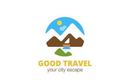 La naturaleza del viaje del paisaje del logotipo diseño de la plantilla de vectores. Piso estilo de ilustración icono de logo concepto de aplicación. Logos