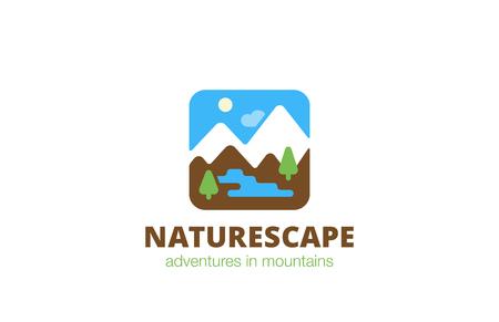 river rock: Square Nature Landscape Travel Logo design vector template.  Flat style illustration Logotype concept app icon.