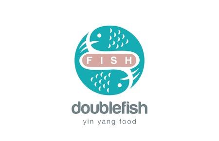 logo poisson: Poissons Logo template vecteur de conception. le style Yin Yang. Fruits de mer concept Logotype icône.