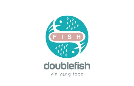 Fish Logo design vector template. Yin Yang style.  Seafood Logotype concept icon. Illustration